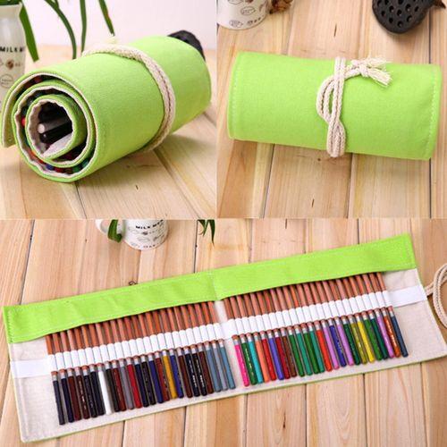 US Retro Canvas Roll Up Pencil Case Pen Brush Bag Makeup Holder Storage Pouch