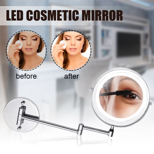 7'' 5X/10X Magnifying Cosmetic Mirror Wall Mounted 360? Compact LED Makeup