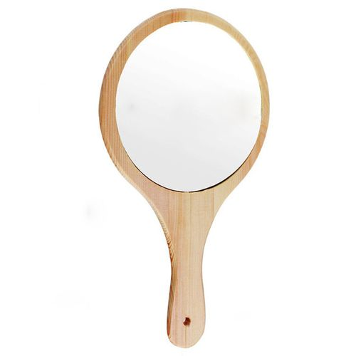 1Pcs Hand-Held Solid Wood Mirror Portable Retro Pattern Makeup Mirror For Beauty Salon Use Mirror