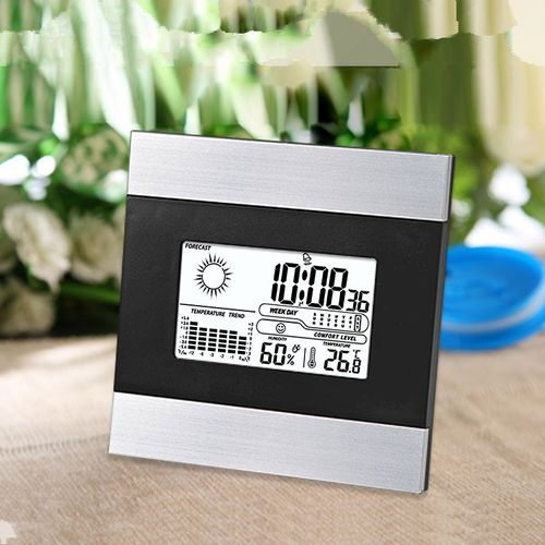 LCD Digital Table Alarm Clock Weather Forecast With White Backlight Snooze Function Indoor Temperatute Humidity Table Clock