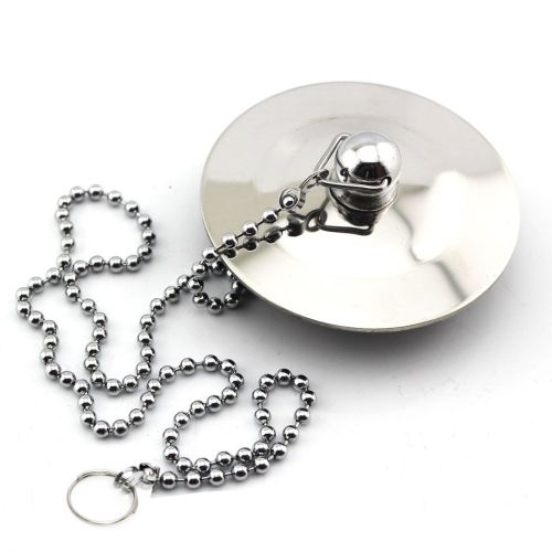 Kitchen Sink & Bath 38mm Solid Metal Waste Plug 2.36'' And 17''ball Chain Chrome