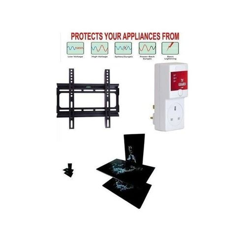 Double Layer Wall Shelf Glass, + 13Amp TV Guard For Your TV, Home Theater, Fan, DVD Protector + -32 - 45 Inches LED,LED Flat Screen Tv Hanger. All Accessories For TV Hanger,Wall Shelf Included.