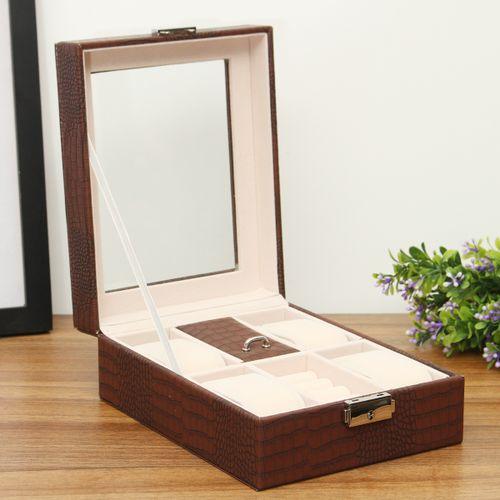 UK Watch Display Case Jewelery Storage Box Collector Organiser Glass PU Leather