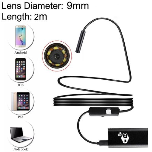 2.0MP HD Camera 30m Wireless Distance Metal WiFi Box Waterproof IPX67 Endoscope Snake Tube Inspection Camera With 6 LED For Android & IOS, Length: 2m, Lens Diameter: 9mm (Black)