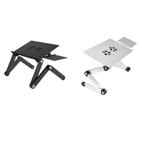 Aluminium Alloy 360 Adjustable Folding Computer Laptop Stand Notebook Holder With Cooling Fans Mouse Plate For Sofa Bed
