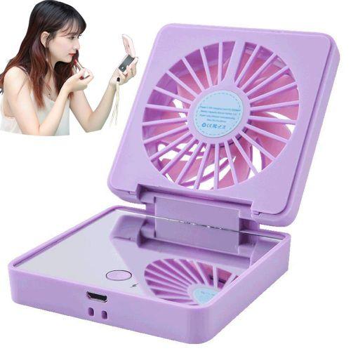 Portable Handheld Mini Fan With Makeup Mirror,purple