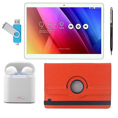 RC Mobile 2GB RAM 16GB Memory, With Twin Wireless Ear-pod, Dual SIM, Strong Metal Case 10.1 Inch Tablet, Stylus Pen, Rotating Leather Case Wireless Keyboard
