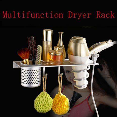 Wall Mounted Hair Dryer Drier Flat Holder Stand Bathroom Rack Storage Organize