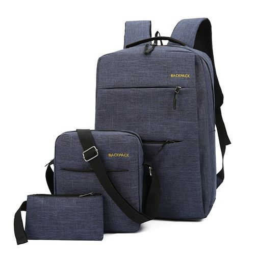 Anti Theft Laptop Bag USB Interface Backpack Durable Blue
