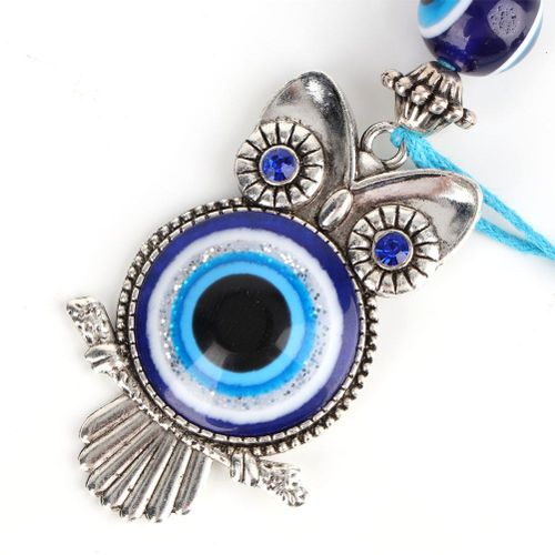 Blue Evil Eye Owl Keychain Key Chain Wall Hanging Ornament Turkish Glass Amulet Charm Pendant Blessing Gift