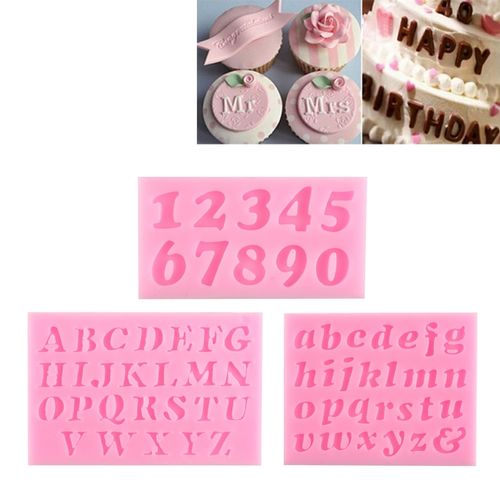 3PCS DIY 3D Letters Digital Shaped Silicone Fondant Cake Decoration Moulds Chocolate Baking Tool