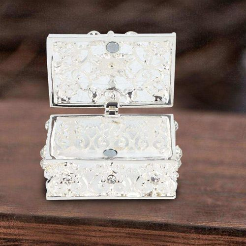 Rhinestone Decorated Hollow Out Jewelry Box Trinket Case Metal Art Craft Gift Ornament