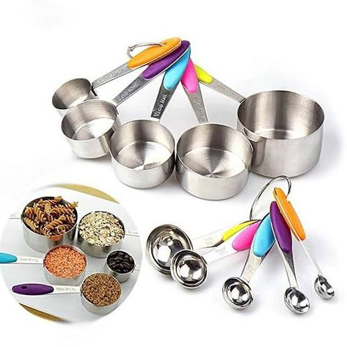 10pcs Stainless Steel Measuring Cups And Spoons With Multicolored Handles