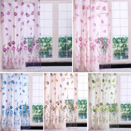 100*200cm Colorful Tulips Printing Tulle Curtains Sheer Drape Balcony Window Decoration