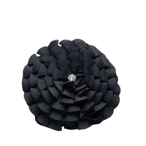 Round Black Throw Pillow