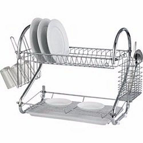 Plate Rack /Dish Drainer 2 Layers- Silver