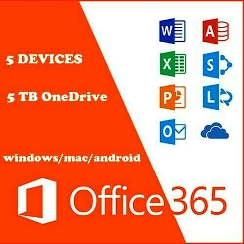 Microsoft Office 365 Account Subscription / 5 Devices / 5TB OneDrive For WINDOWS AND MAC