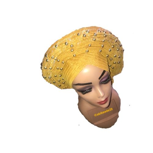 Gold Ready-To-Wear Headtie(autogele) With Embellished Gold And Silver Design