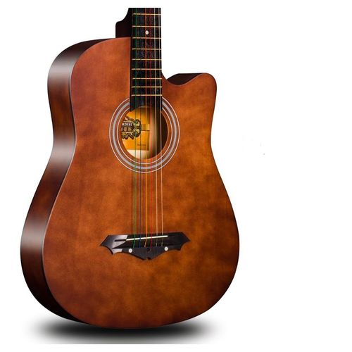 Acoustic Box Guitar With Capo, Bag And Strap - Brown