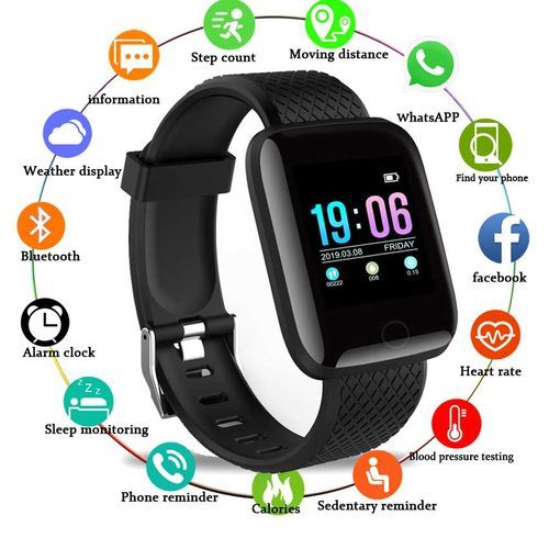 Smart Watch Heart Rate Monitor Fitness Tracker Watch (Black)