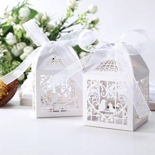 25pcs Box Dragees Candy Heart White Birds For Wedding