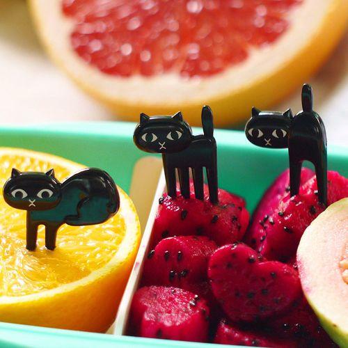 YKPuii 6Pcs/Set Kitchen Tableware Cat Fork Cute Cartoon Baby Fork