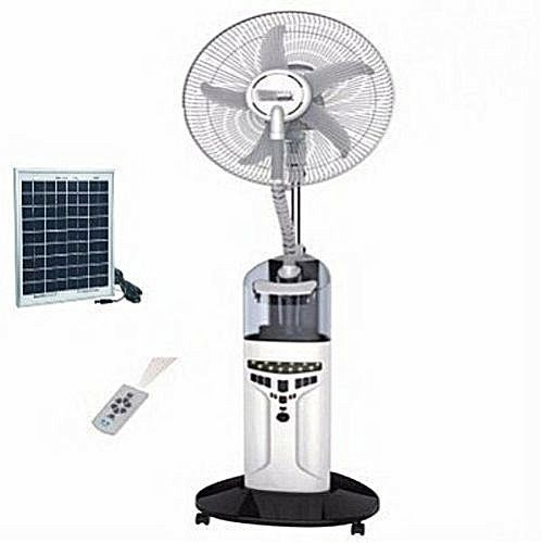 """Rechargeable Water Mist Fan With Solar Charging Port - 18"""""""