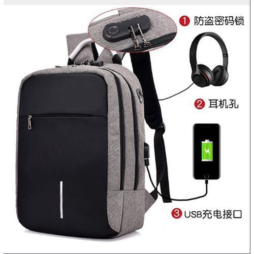 Anti Theft Laptop Bag With USB Port & Zip Lock
