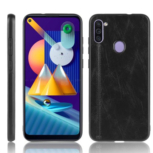 For Galaxy M11 Shockproof Sewing Cow Pattern Skin PC + PU + TPU Case(Black)