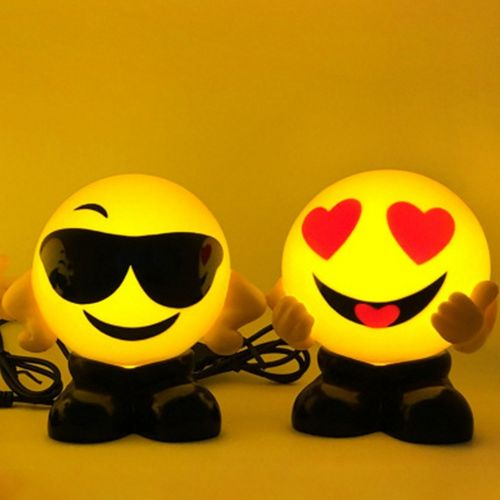Emoji LED Small Night Lights Smiley Face Bed Lamps USB Charging Gifts