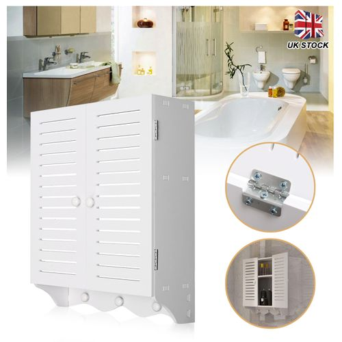 Wall Mounted Bathroom Cabinet Double Door Shutter Wooden Cupboard 40x16x50cm UK
