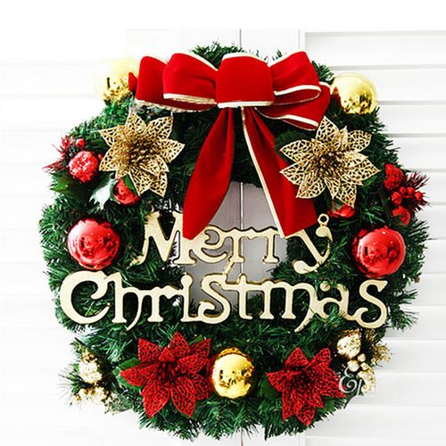 30CM Christmas Wreath Window Door Decor Wall Hanging Tree Garland Bell Ornament