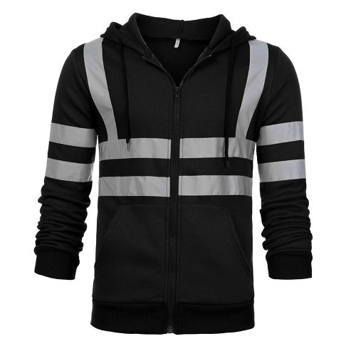 Men Jacket Road Work High Visibility Hooded Outwear Travel Outdoor Tracksuit Reflective Stripe D90520(#Black) CUI