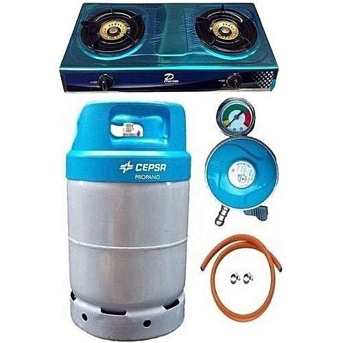 Cepsa 12.5kg Gas Cylinder+Cooker,Regulator Hose,Clip-BlueCap