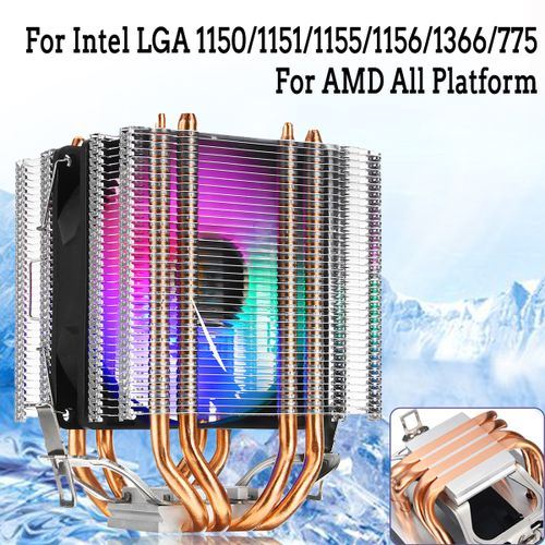 4pin RGB CPU Cooler 4 Copper Heatpipe Dual Tower Heat Sink Quiet Cooling Fan For Intel LAG 1155 1156 775 For AMD Socket AM3/AM2