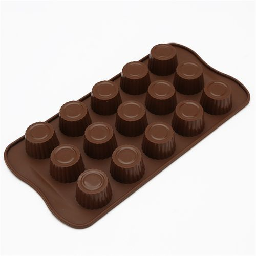5Pcs/Set 15 Slots Silicone Chocolate Molds Heat Resistant Oven Candy Pudding Baking Mould