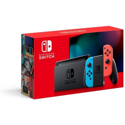Nintendo Switch Console With Neon Blue And Neon Red Joy.