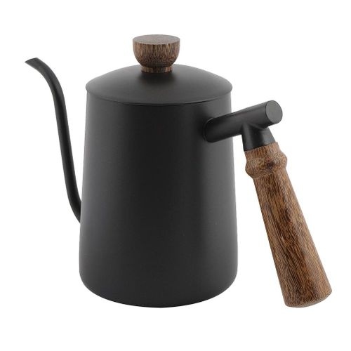 Fdit 600ml Stainless Steel Gooseneck Kettle Drip Over Coffee Pot With Wooden Handle