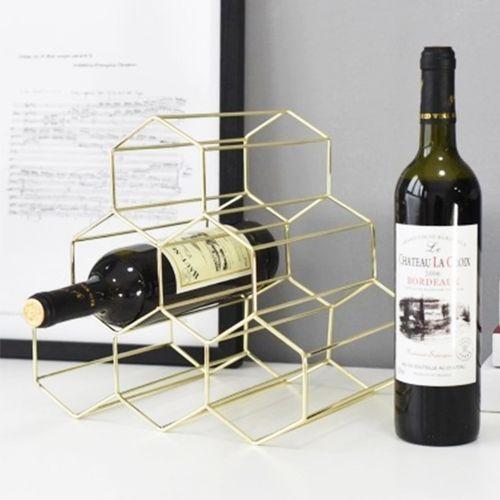 6 Bottle Wine Rack Metal Wire Storage Counter Top Holder Storage Crate Display