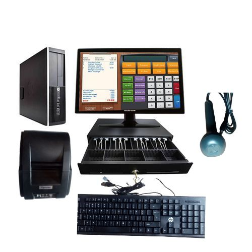Pos System MONITOR(none Touch) + Computer + Cash Drawer + Receipt Printer + Barcode Scanner + POS Software