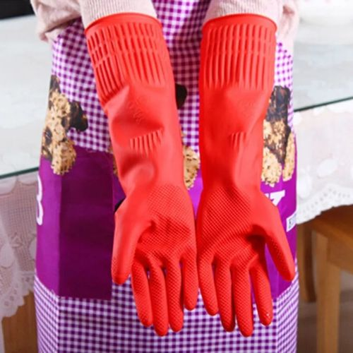 2Pcs Elastic Kitchen Waterproof Rubber Latex Gloves For Cleaning - Large