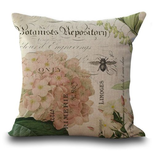 Vintage Spring Flower Pillow Covers Cushion Cases Burlap For 18x18'' Pillow