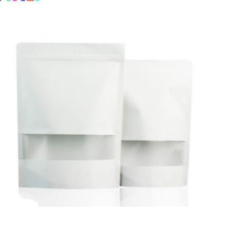 50pcs Resealable Kraft Paper 10*15 Stand Up Pouch Wth Window