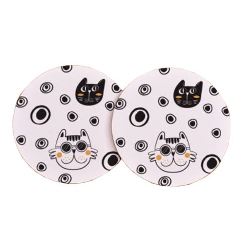 Set Of 2 Cork Coasters Round Potholder Dish Mat,Serious Cat