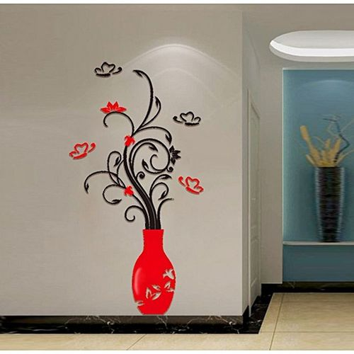 3D Flower Vase Removable Wall Stickers DIY Home Decor