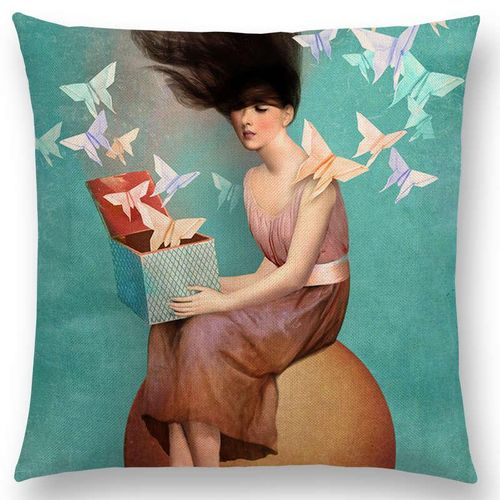 Elegant Lady Beautiful Girl Oil Painting Magical Cushions