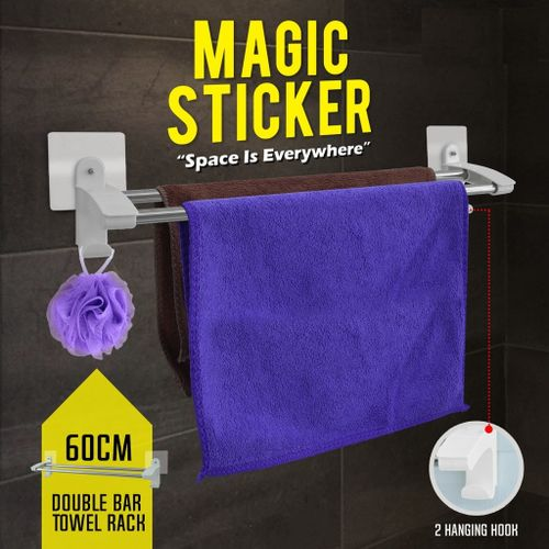 Bathroom Double Towel Rack With Magic Wall Stickers - Silver