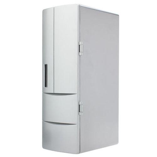 USB Portable Mini Cooling And Heating Fridge Silver Refrigerator Frig