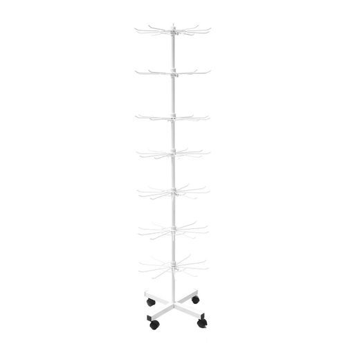 NEW WHITE TALL SEVEN LEVEL TIER SPINNING Store FLOOR DISPLAY RACK W WHEELS Wire