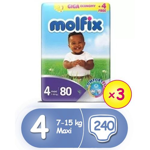 ComfortFix Diapers, Size 4 (x 3) (Total 240 Count)